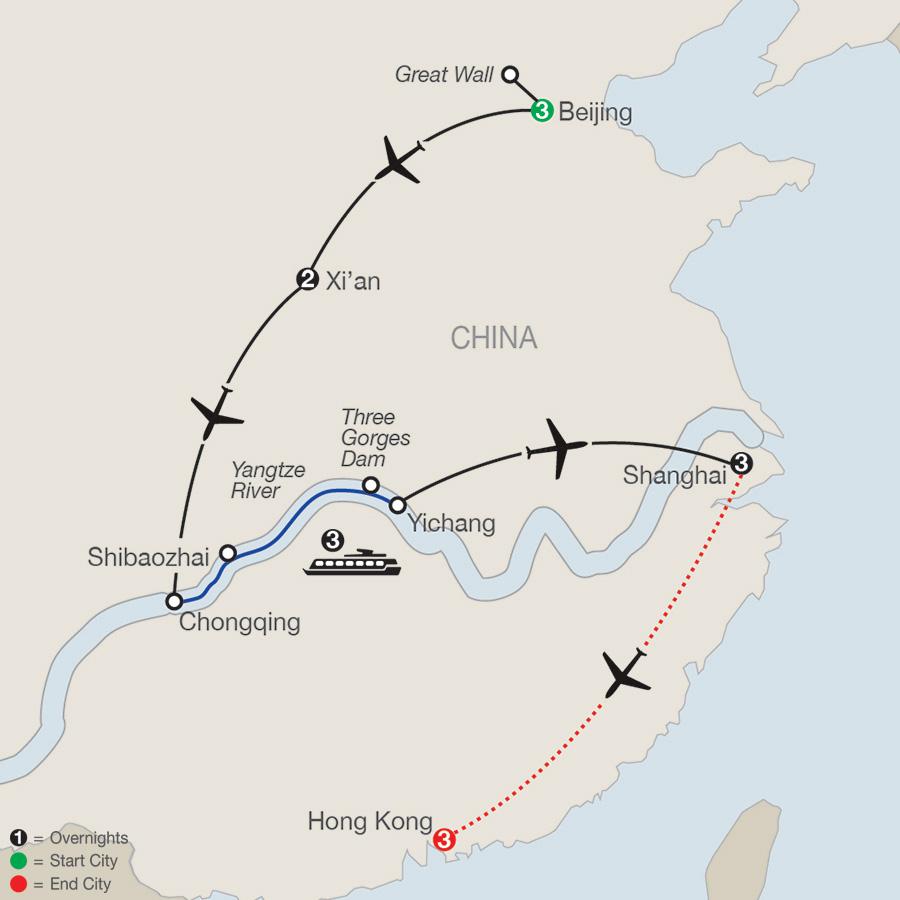Classic China & the Yangtze River with Hong Kong map