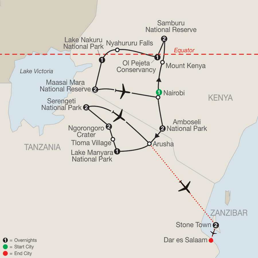 Kenya & Tanzania The Safari Experience with Zanzibar map