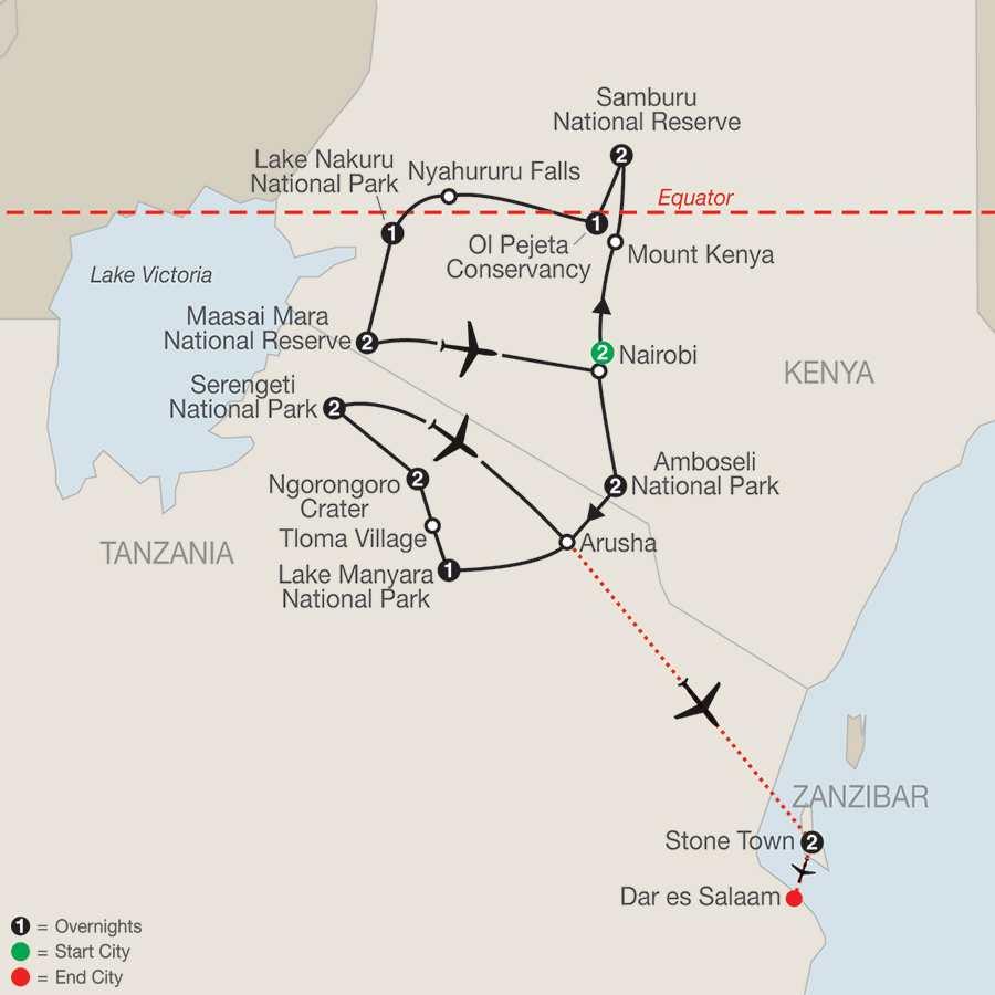 Kenya & Tanzania The Safari Experience with Nairobi & Zanzibar map