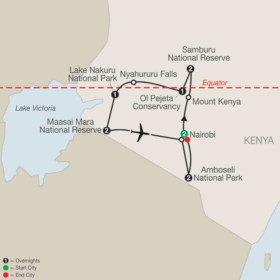 Kenya: A Classic  Safari with Nairobi map