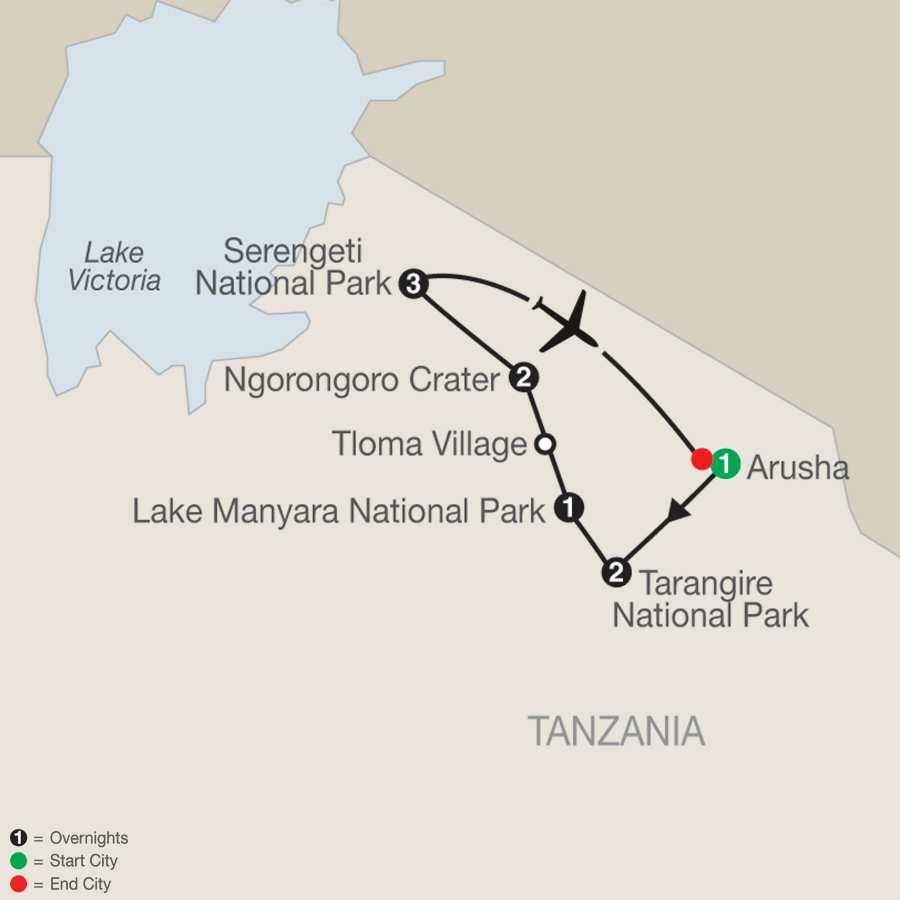 Tanzania: The Serengeti & Beyond map