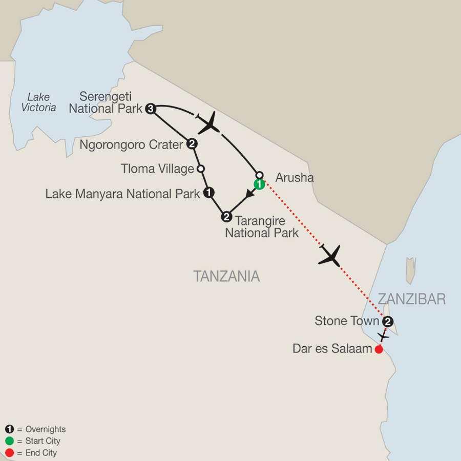 Tanzania The Serengeti & Beyond with Zanzibar – Stone Town map