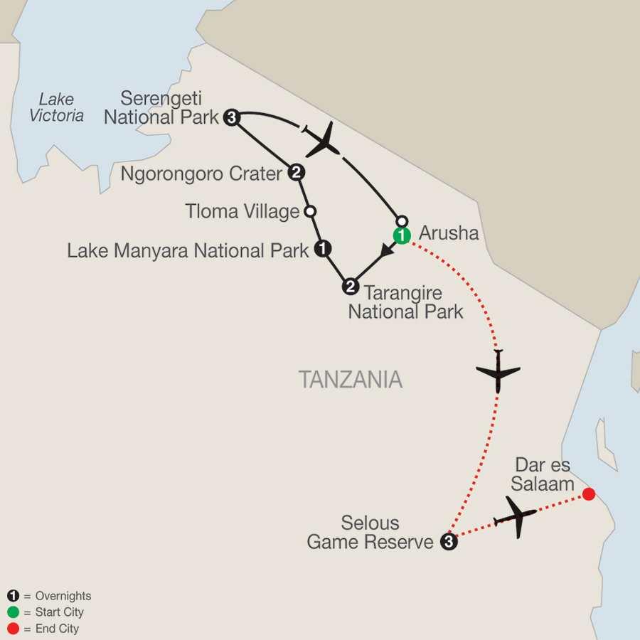 Tanzania The Serengeti & Beyond with Selous map