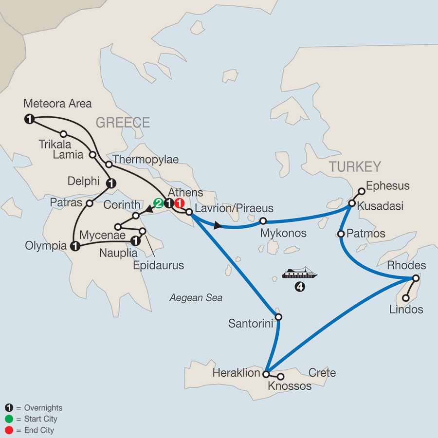 Classical Greece with Iconic Aegean 4-Night Cruise map