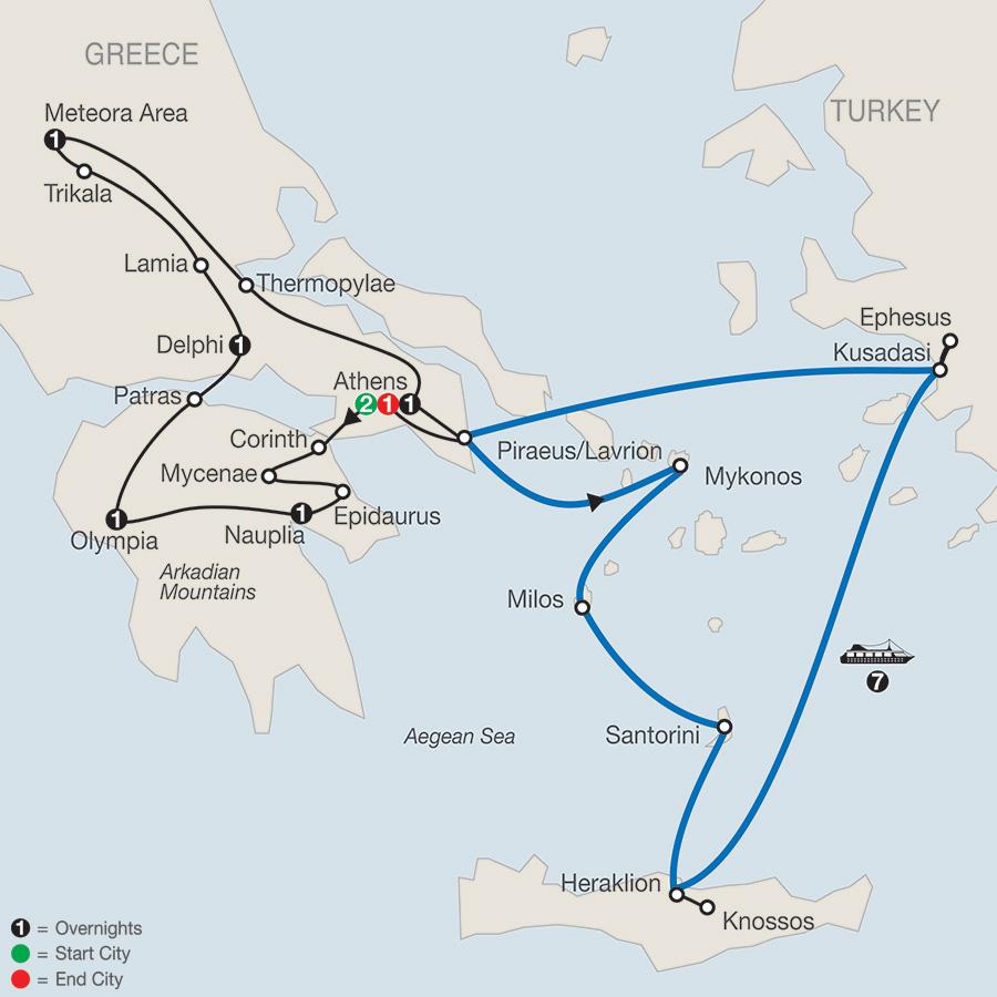 Classical Greece with Idyllic Aegean 7-Night Cruise map