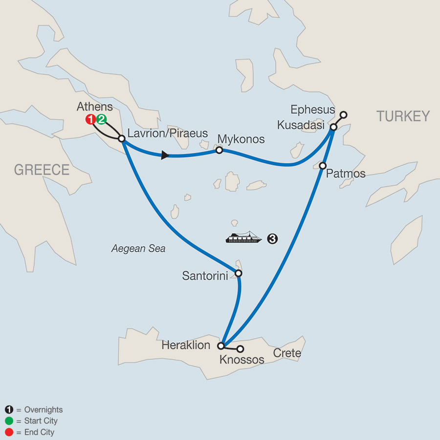 Iconic Aegean with 3-Night Cruise map