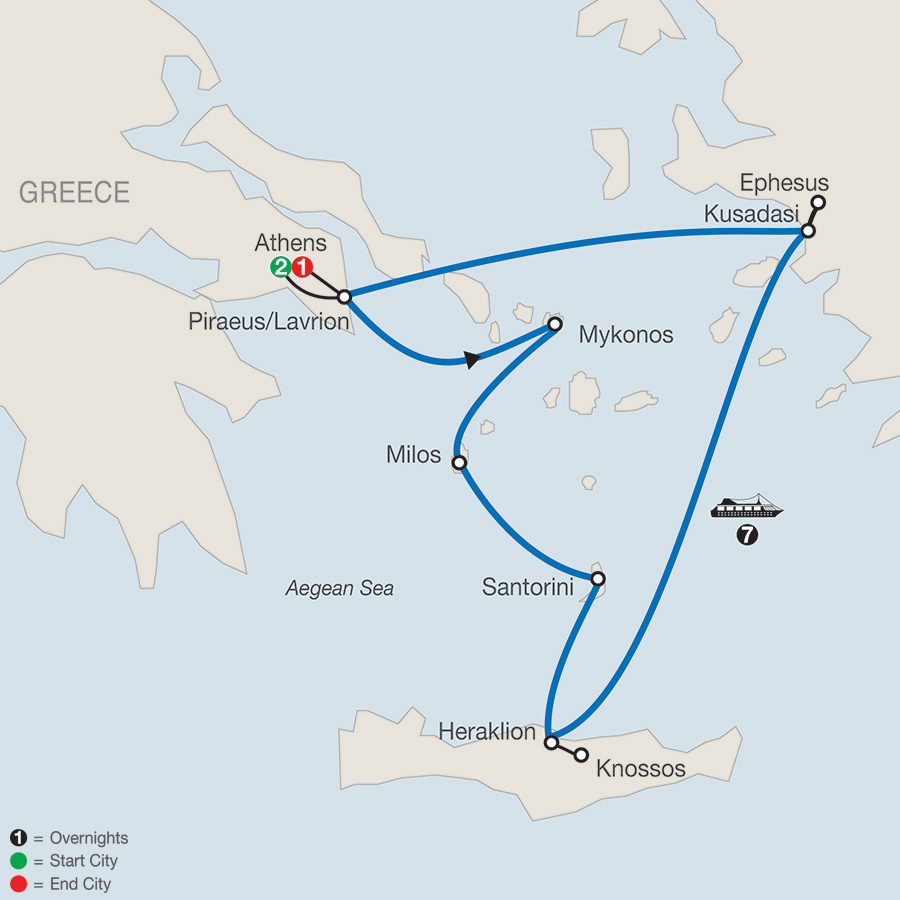 Idyllic Aegean with 7-Night Cruise map