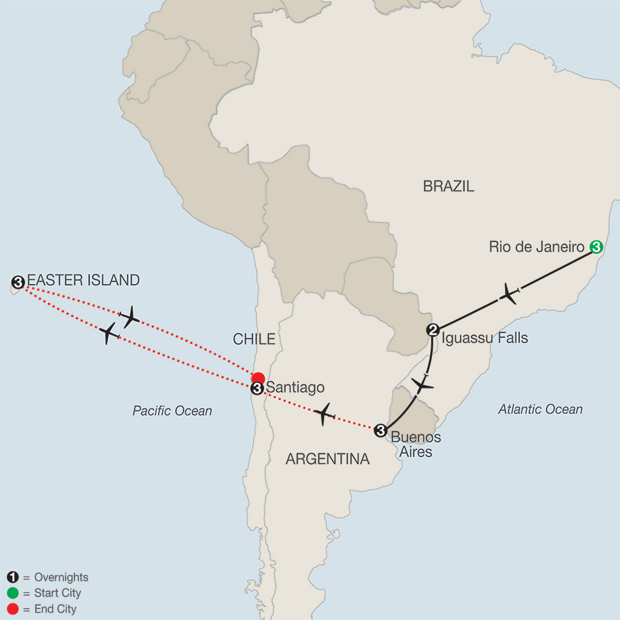 South America Getaway with Santiago & Easter Island map