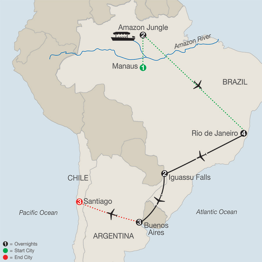 South America Getaway with Amazon & Santiago map