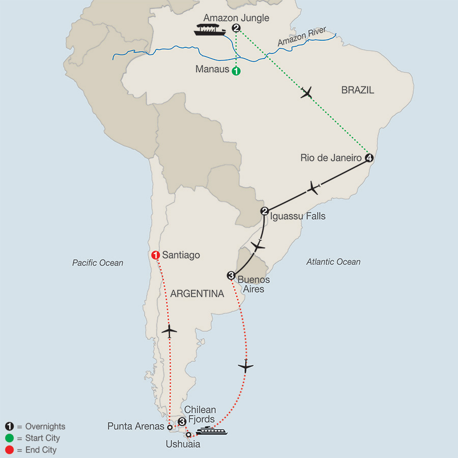 South America Getaway with Amazon & the Chilean Fjords map