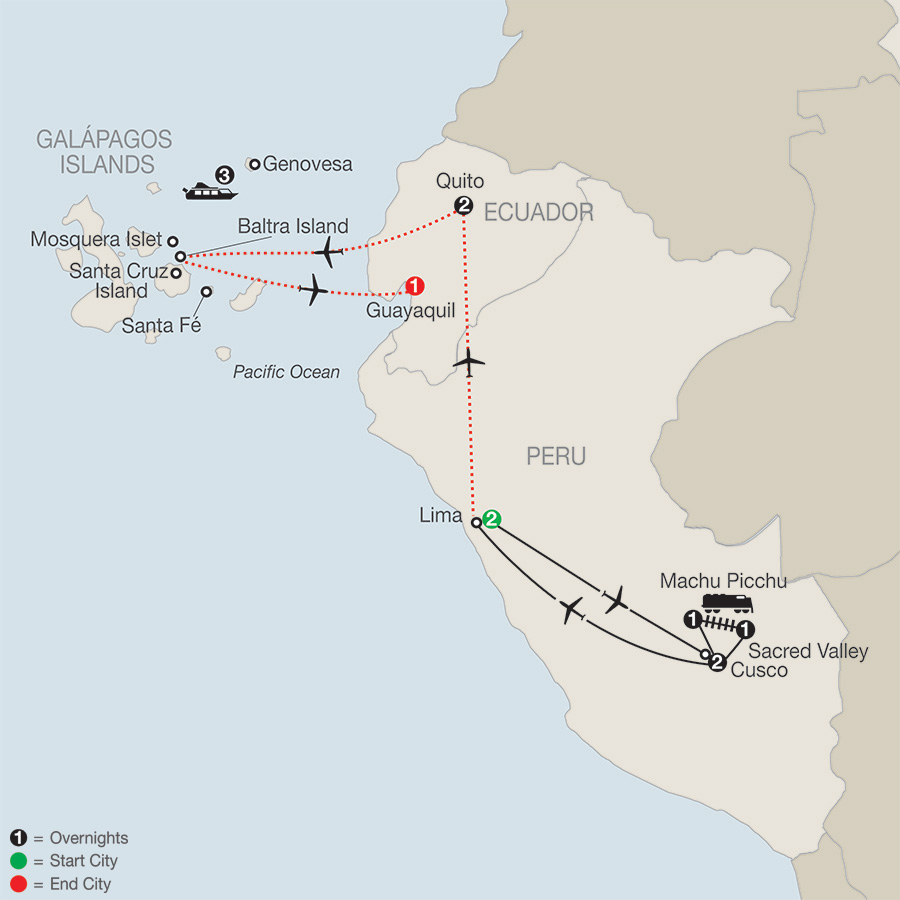 Peru Splendors with Galápagos Cruise map