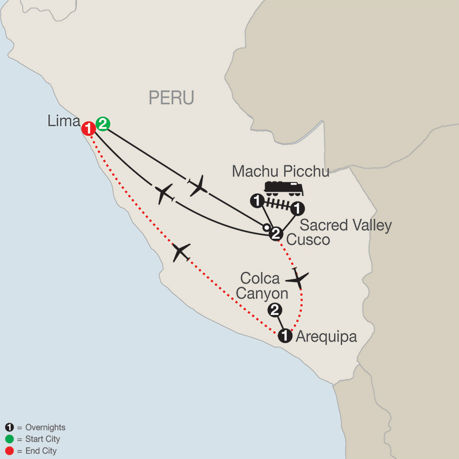Peru Splendors with Arequipa & Colca Canyon map