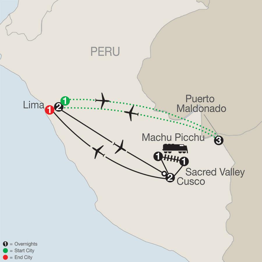 Peru Splendors with Peru's Amazon map