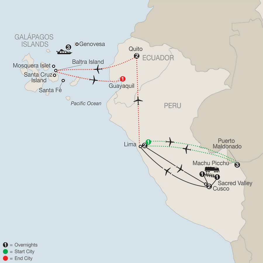 Peru Splendors with Peru's Amazon & Galápagos Cruise map