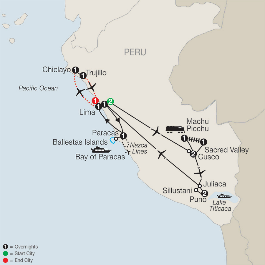 Legacy of the Incas with Chiclayo & Trujillo map