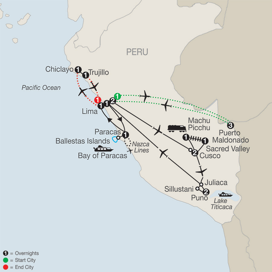 Legacy of the Incas with Peru's Amazon, Chiclayo & Trujillo map