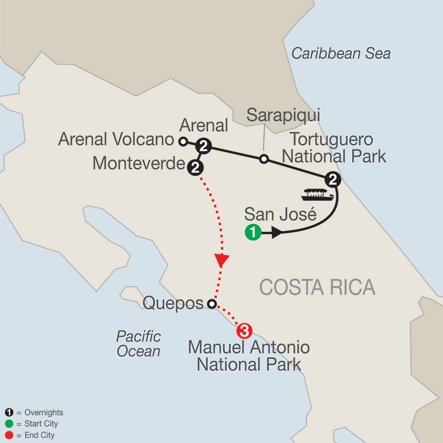 Natural Wonders of Costa Rica with Manuel Antonio map