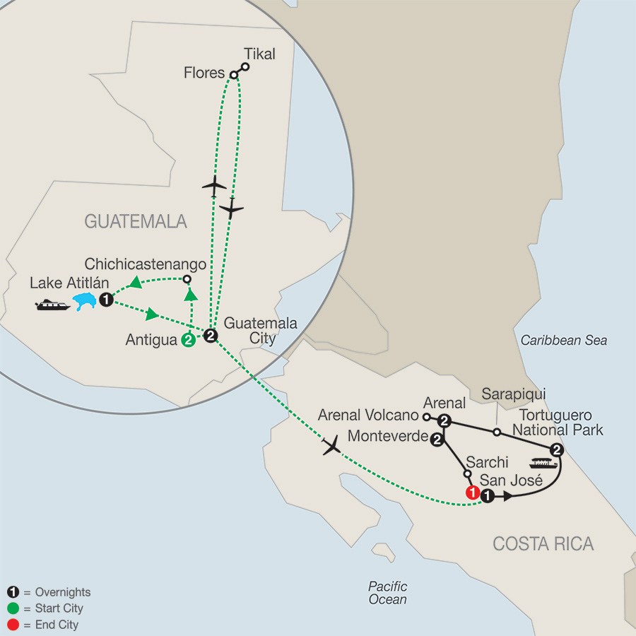 Natural Wonders of Costa Rica with Guatemala map