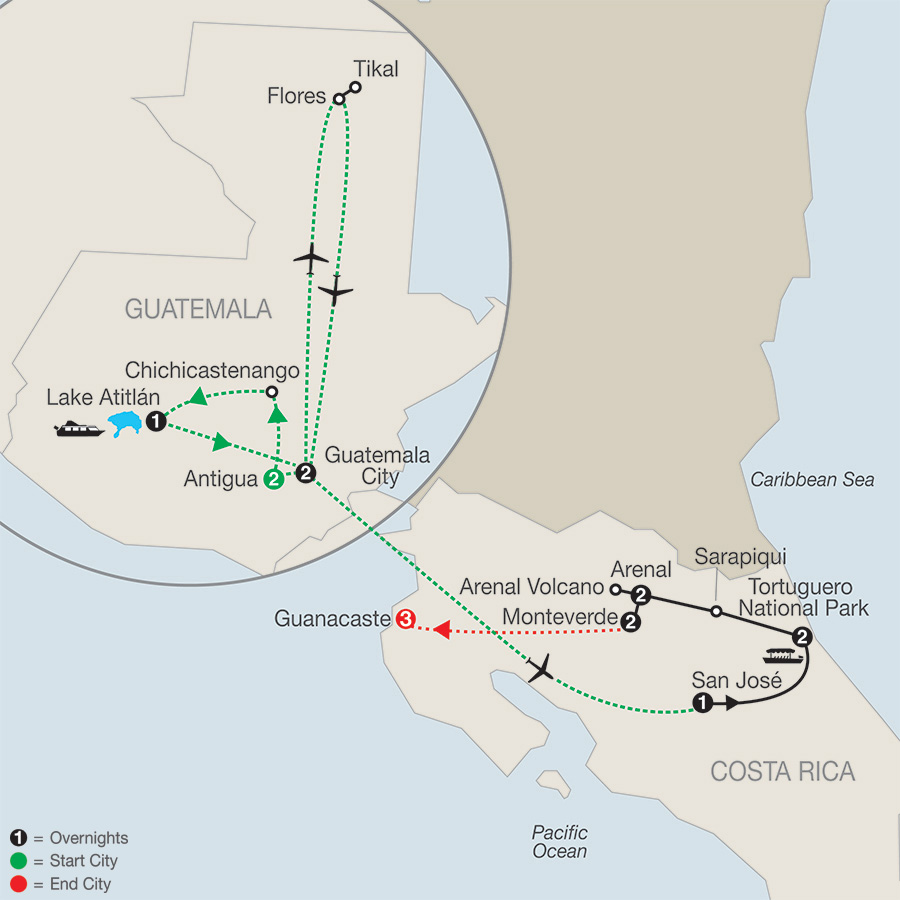 Natural Wonders of Costa Rica with Guatemala & Guanacaste map