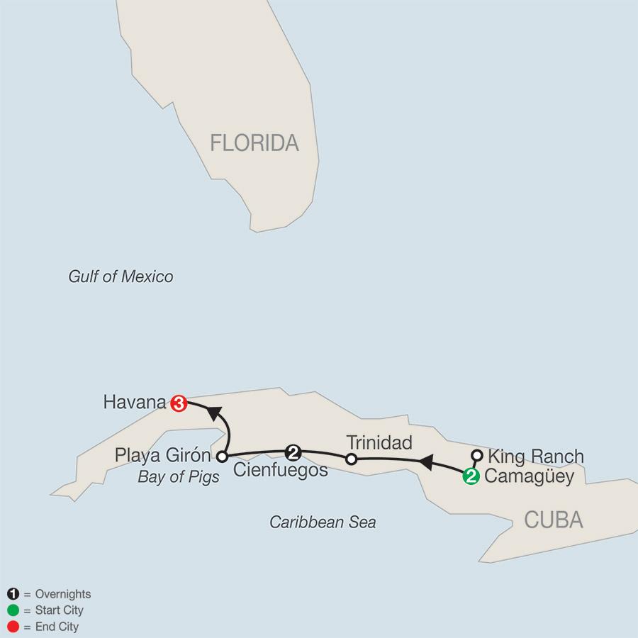 Cuba's Charming Colonial Cities & Havana map