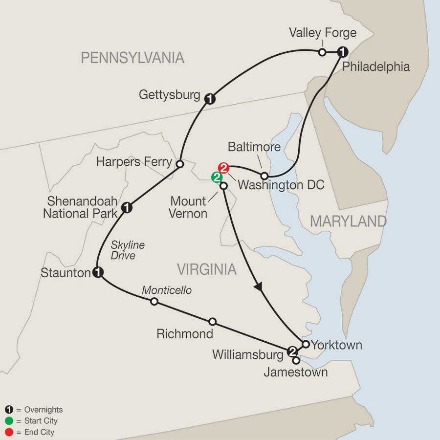 America's Historic East with Stay in Washington DC map
