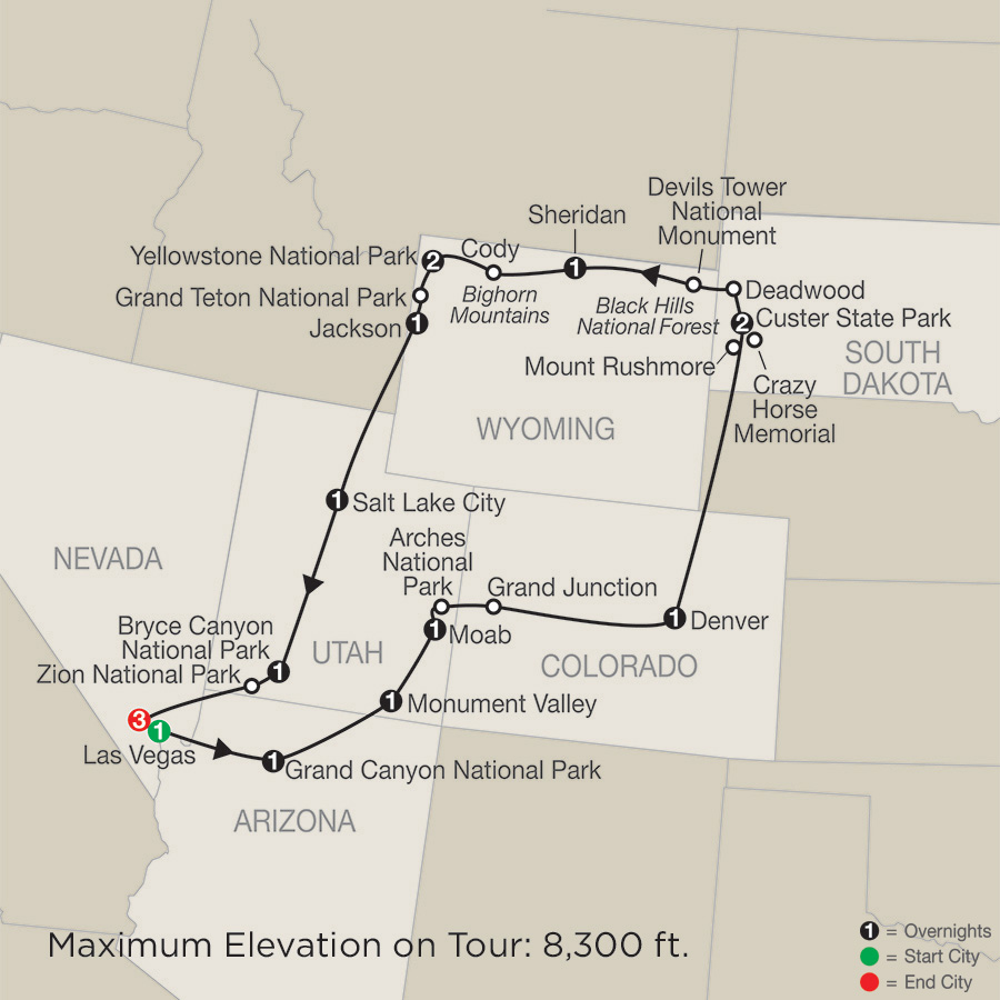 Exploring America's Great Parks with Stay in Las Vegas map