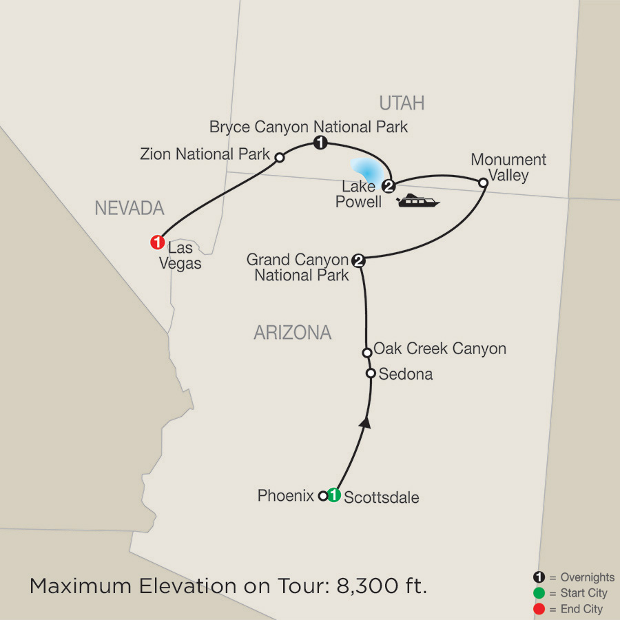 Map Of Arizona Monument Valley.Canyon Country Adventure