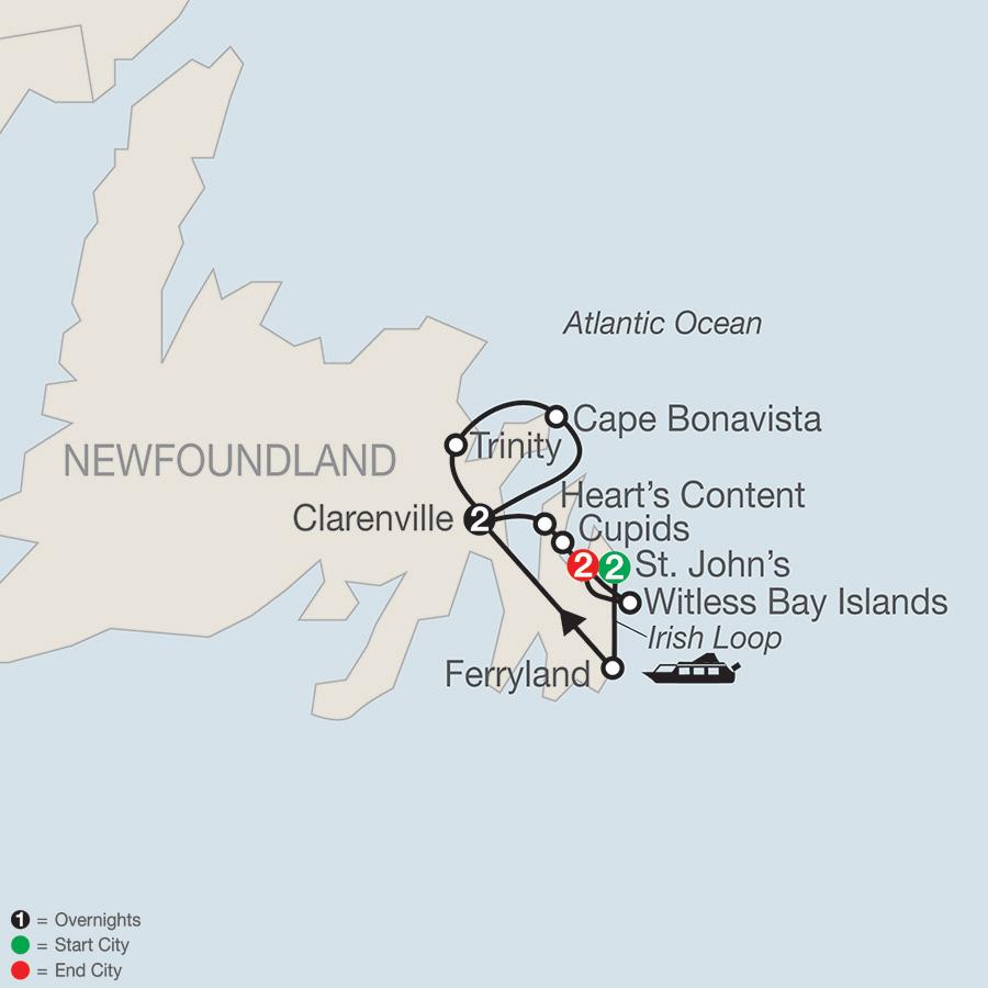 Colorful Newfoundland map