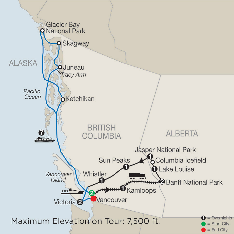 Spirit of the Rockies with Alaska Cruise map