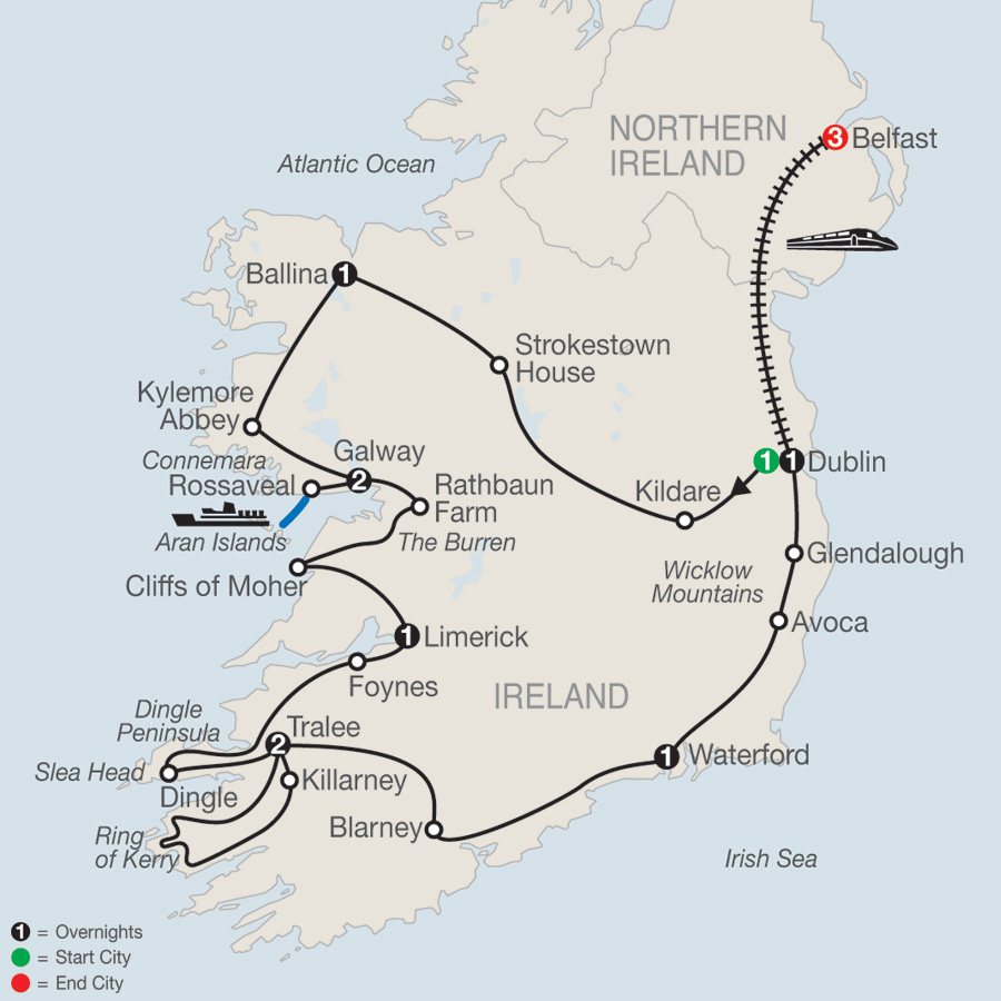 Emerald Isle with Belfast map