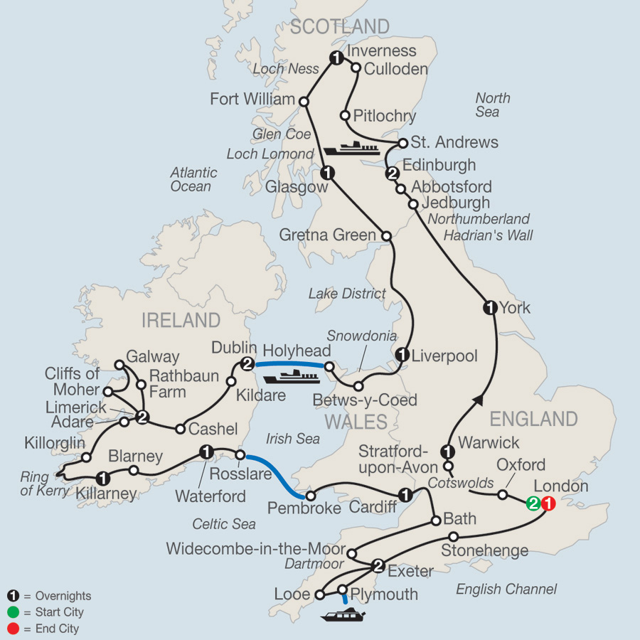 Map Of England Showing London.British Isles Tour Globus Vacations