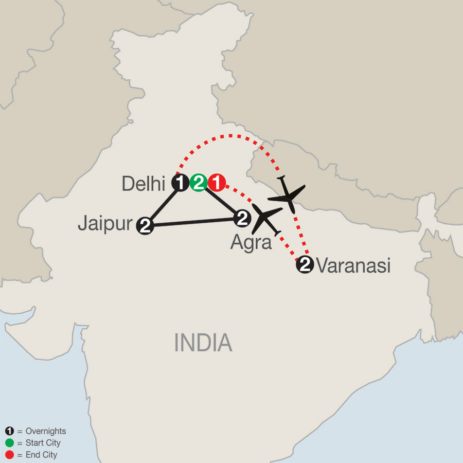 India Escape with Varanasi map