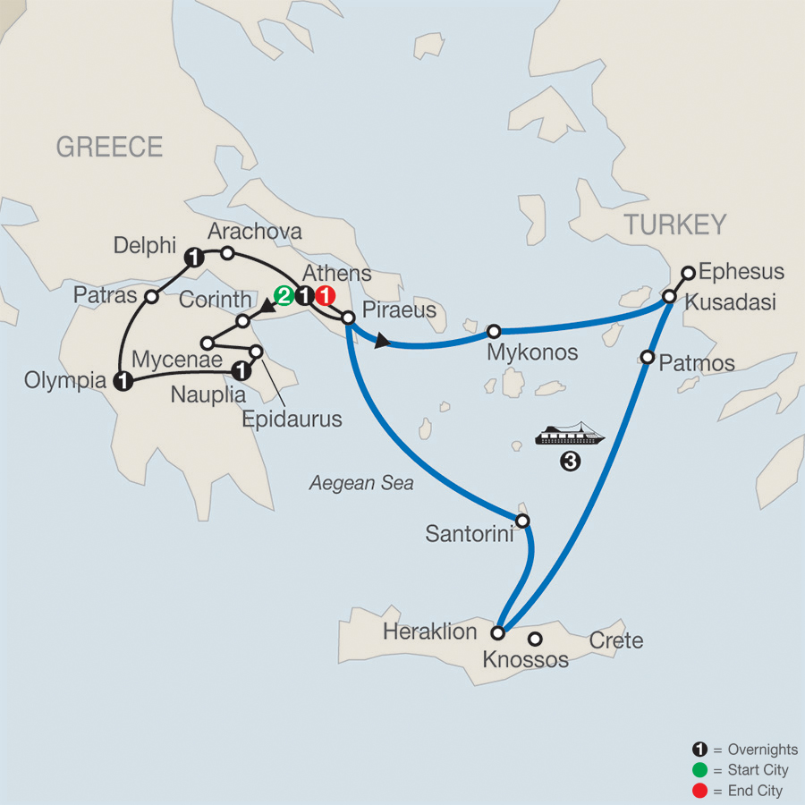 Greek Escape with 3-Night Iconic Aegean Cruise Map