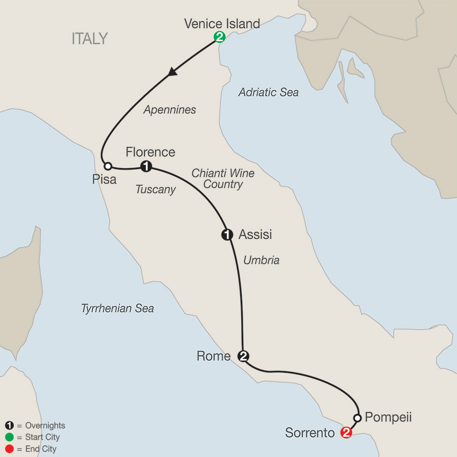 Bella Italia Escape with Sorrento Map