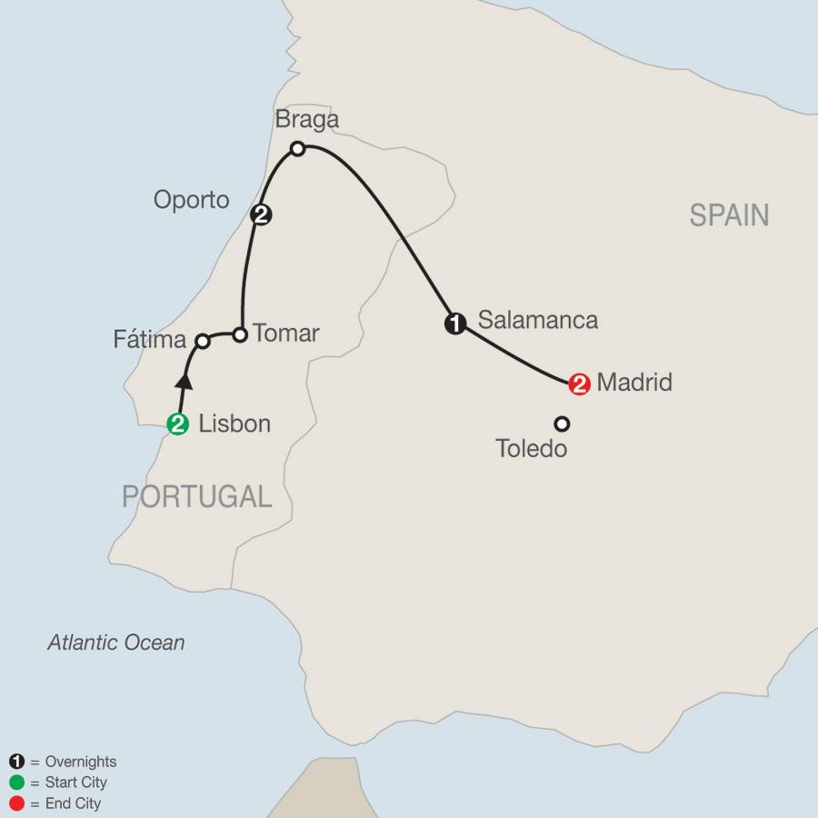 Lisbon to Madrid Escape map