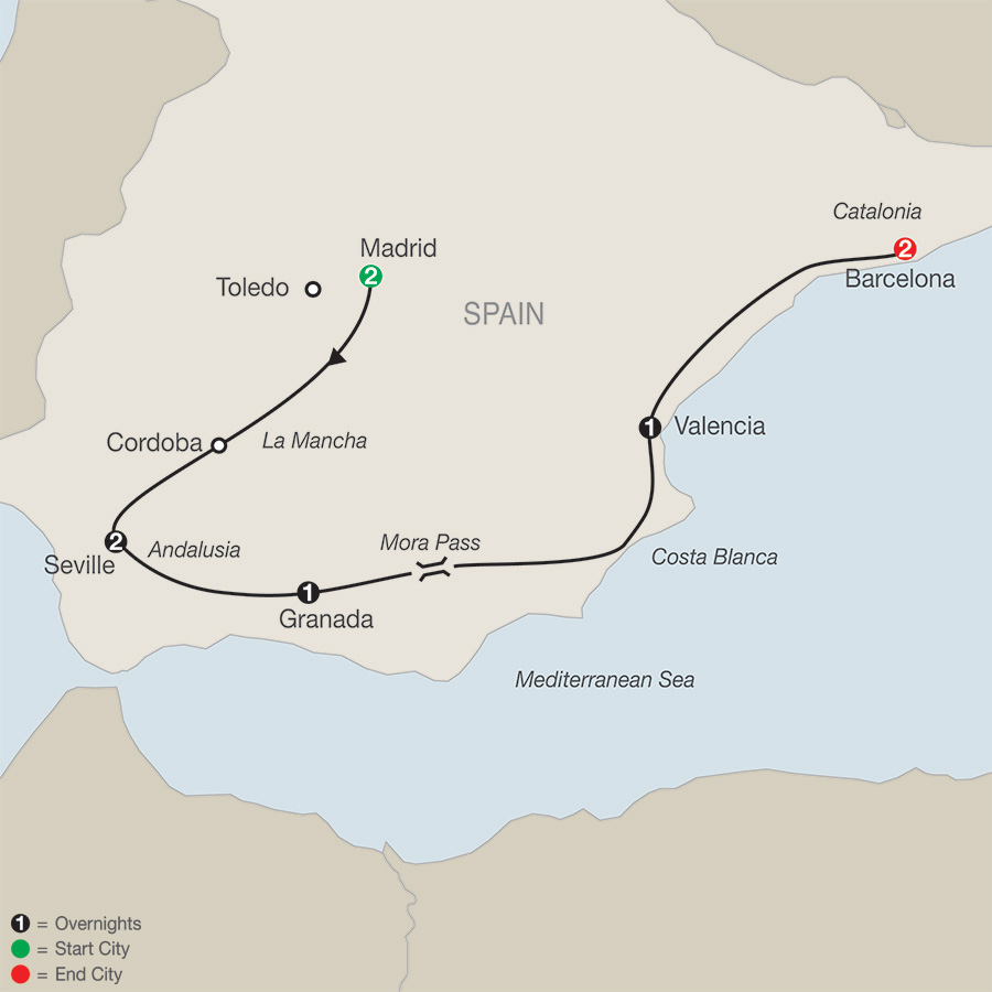 Map South Of Spain.Spanish Escape
