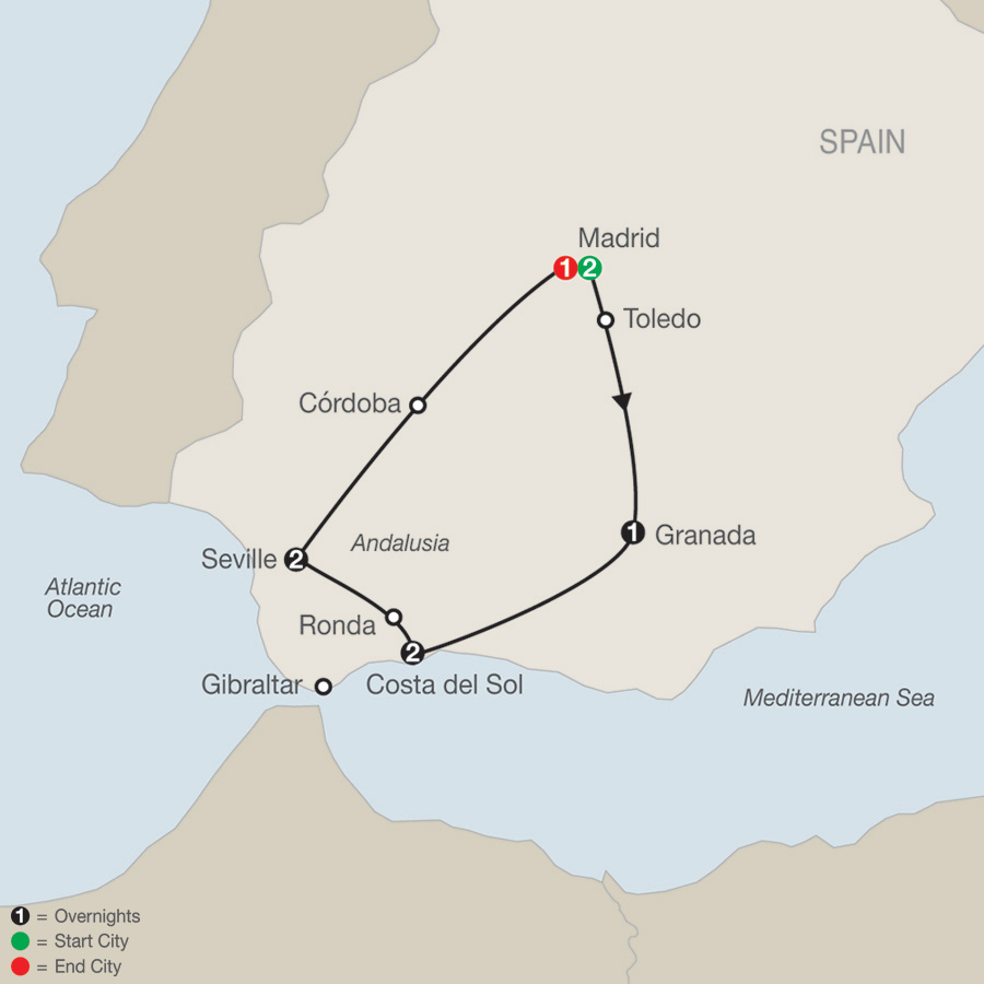 Southern Spain Escape map