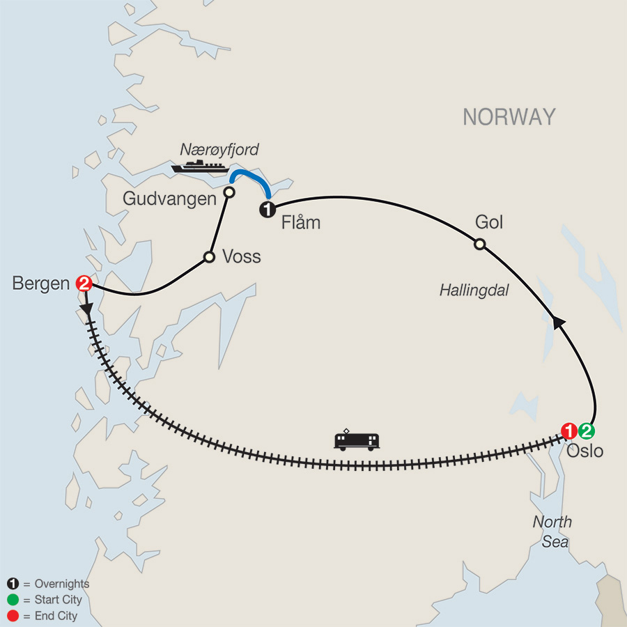 Norwegian Fjords Escape with Return to Oslo map