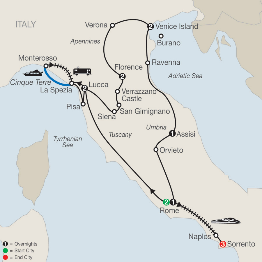 Italian Treasures with Sorrento map