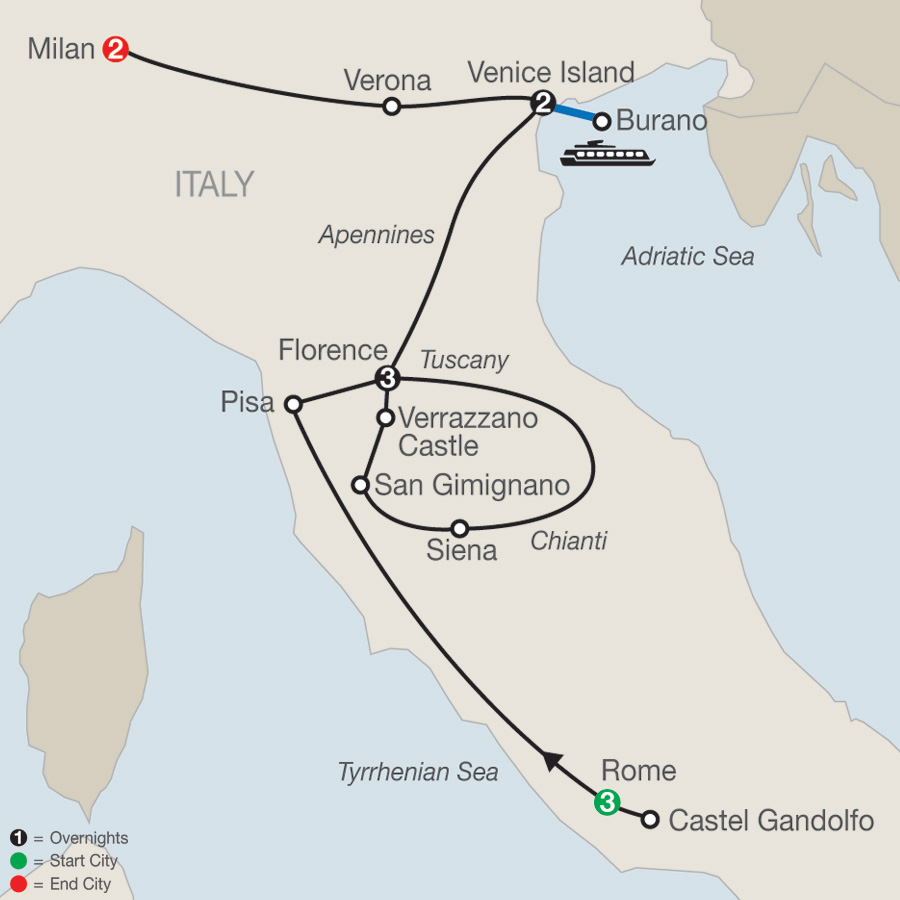 Italian Highlights map