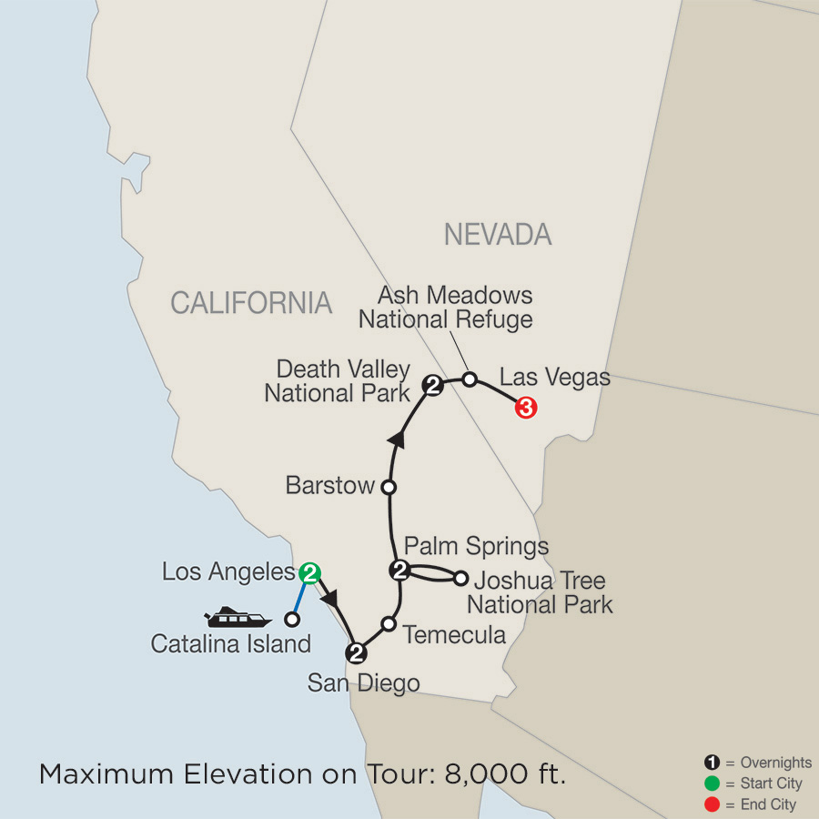 Southern California with Death Valley & Joshua Tree National Parks with Stay in Las Vegas map