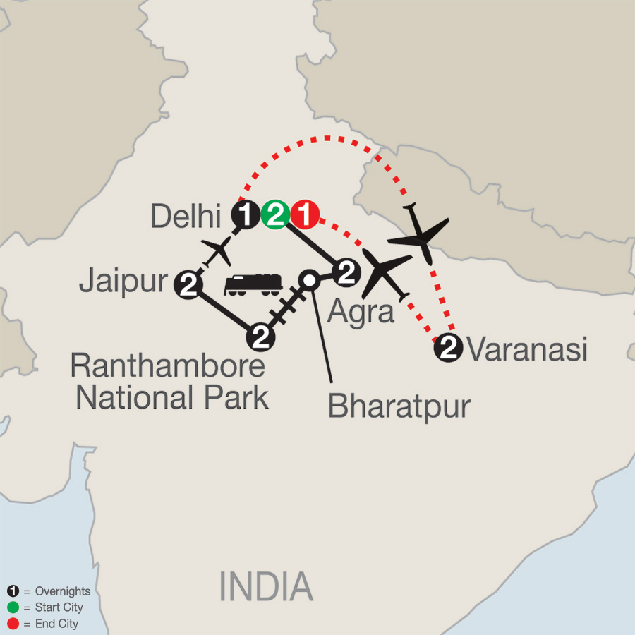 Icons of India: The Taj, Tigers & Beyond with Varanasi map