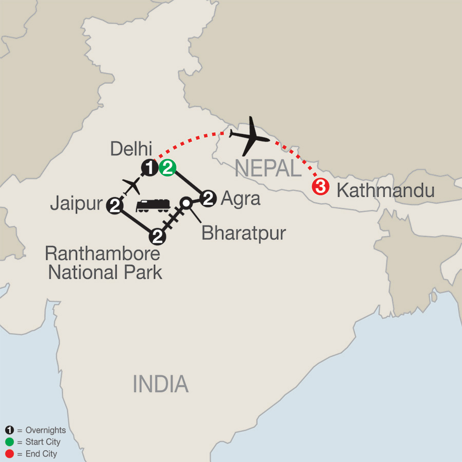 Icons of India: The Taj, Tigers & Beyond with Kathmandu map