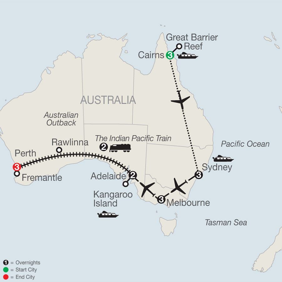 Across Australia by Train with the Great Barrier Reef map