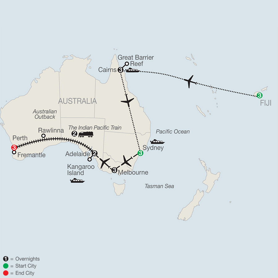 Across Australia by Train with Fiji & the Great Barrier Reef map