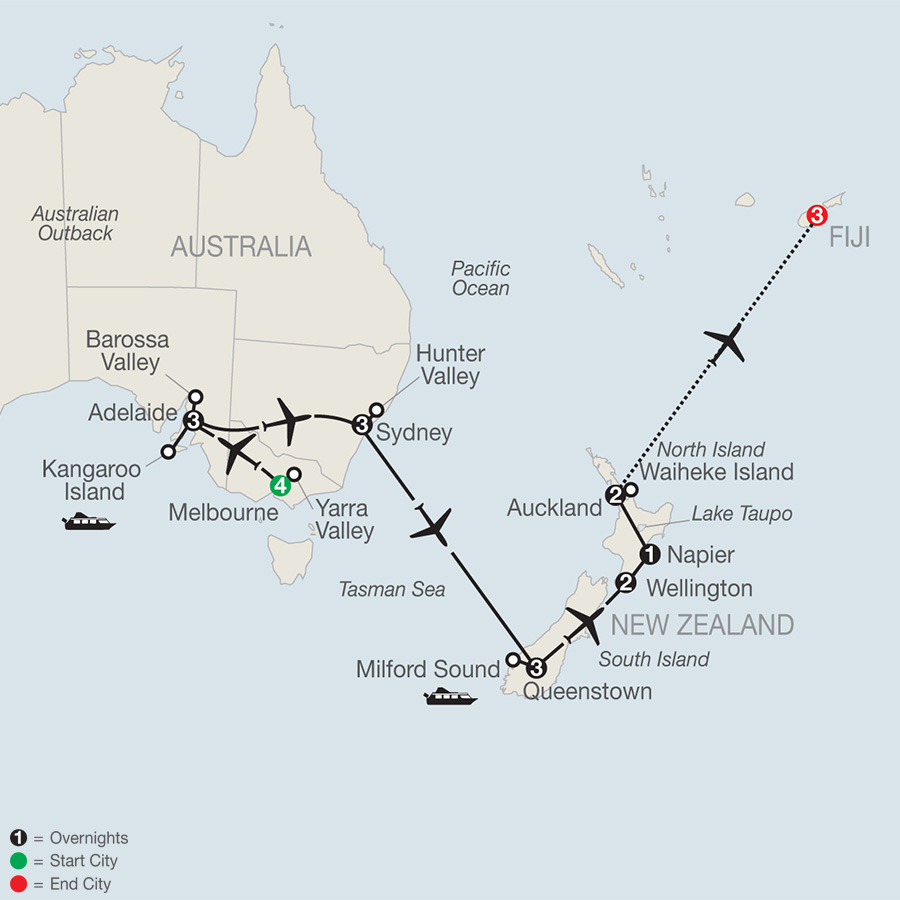 Map Of Australia New Zealand And Fiji.Australia New Zealand And Fiji Wine Tours Globus