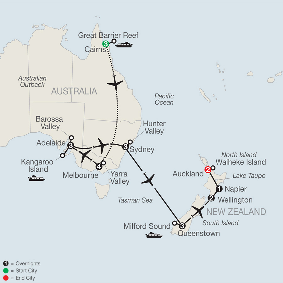 Wines of Australia & New Zealand with the Great Barrier Reef map