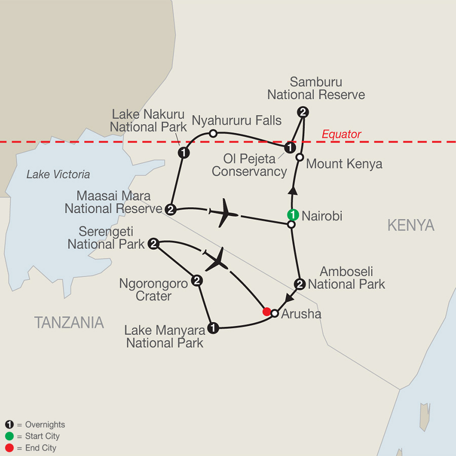 Kenya & Tanzania: The Safari Experience map