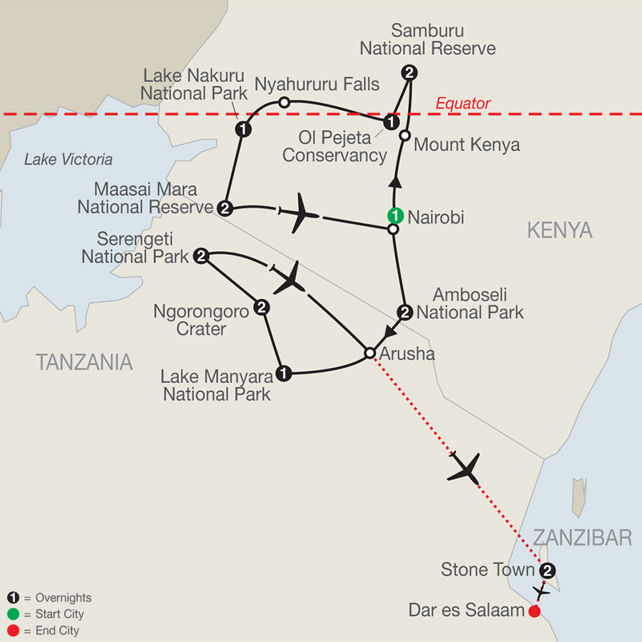 Kenya & Tanzania: The Safari Experience with Zanzibar map