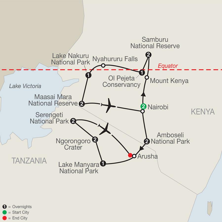 Kenya & Tanzania: The Safari Experience with Nairobi map
